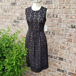 NWT Peck & Peck Lace Fit n Flare Dress Black 6